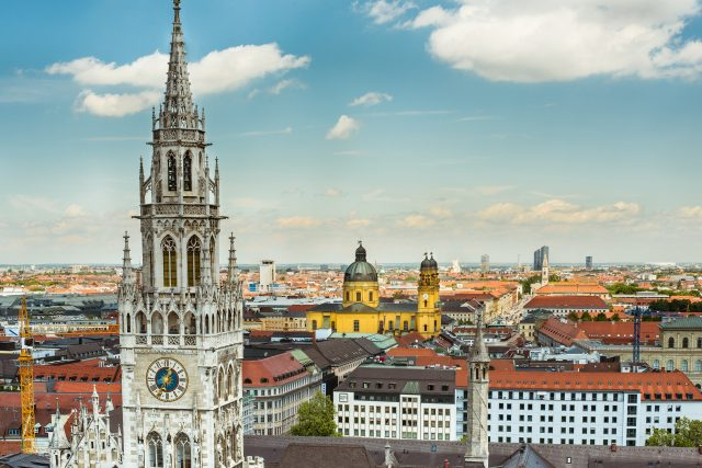 Munich, Bavaria, Germany - Town hall tower, Theatinerkirche church © GNTB, Photographer Saskia Wehler