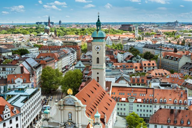Munich, Germany - View towards Viktualienmarkt, Church of the Holy Spirit © GNTB_Photographer Saskia Wehler